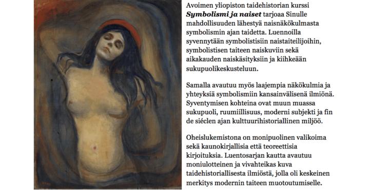 """Tervetuloa """"Symbolismi ja naiset""""-kurssille Espoon avoimeen yliopistoon"""